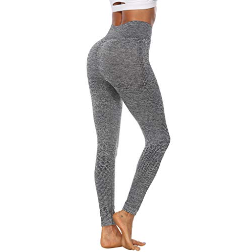 WOZOW Pantalon Pure Color Hip Lifting Seamless Elasticity Running Yoga Pants Gym Leggings Power Stretch Taille Haute Femmes en Cours D'exécution D'entraînement(Gris,L)