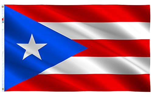 rhungift Puerto Rico Flag Large 3x5 Ft, Moderate Outdoor/Indoor Both Sides 100D Polyester-Brass Grommets for Easy Display Puerto Rican Flags 3' x 5' Banner