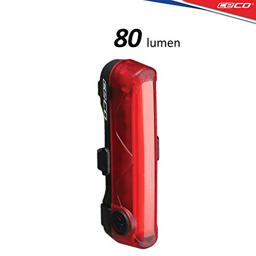 CECO-USA: 80 Lumen USB Rechargeable Bike Tail Light - Super Wide & Bright Model TC80 Bicycle Rear Light - IP67 Waterproof, FL-1 Impact Resistant - COB LED Red Safety Light - Pro Grade Bike Tail Light