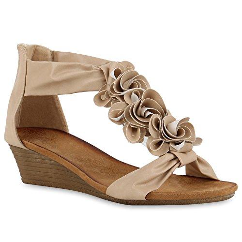 Damen Keilabsatz Sandalen Riemchensandalen Strass Sandaletten Wedges Glitzer Blumen Flats Sommer Schuhe 140876 Creme Cabanas 36 Flandell