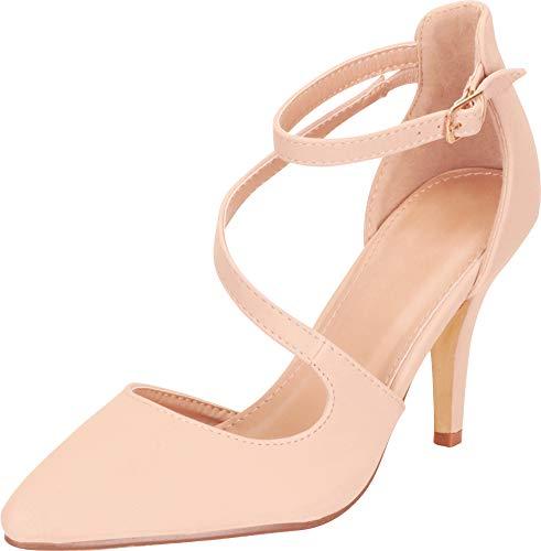 Cambridge Select Women's Closed Pointed Toe Buckled Crisscross Strap Stiletto Mid Heel Pump,8.5 B(M) US,Nude