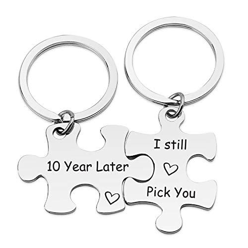WENATA Couple Puzzle Keychains Set Wedding 10 Years Later I Still Pick You Puzzle Keychain Set Promise Keychains Lover Gift BBF Gift
