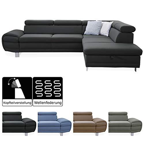 CAVADORE Ecksofa Marool / Großes Sofa mit Ottomanen rechts und Kopfteilverstellung / Modernes Design / 283 x 79 x 229 / Dunkelgrau