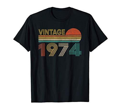 Vintage 1974 47 Anni Compleanno Uomo Donna Regalo Divertente Maglietta
