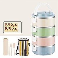 かわいいランチボックスと絶縁ランチバッグ,大人のための食器付き弁当箱食品容器収納箱-h 25.5x14.5cm(10x6inch)