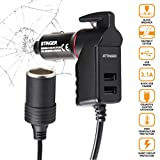 Ztylus Stinger Car Charger Emergency Escape Tool: 11 inches Cigarette Lighter Extension Cord, 12V/24V DC Max 120W, Car Safety Spring Loaded Window Breaker, Seat Belt Cutter, Crashsafe Tool