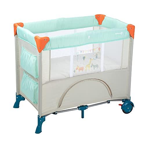 Safety 1st Mini Dreams Parque cuna bebé, Cuna de viaje plegable, Cuna portátil y compacta, con bolsa de viaje, 0 meses - 9 kilos, color Happy Day