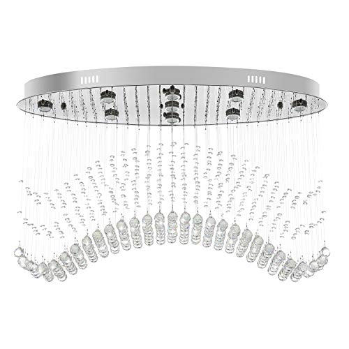 7PM W40' Modern Wave Oval Chandelier, Raindrop Crystal Ceiling Light Fixture for Dining Room Kitchen Living Room