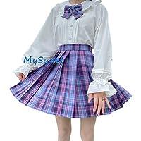 【未来ノ夢】lolita ロリータ チェック型 可愛い 優しい 長袖 4点セット 靴下付き 姫袖 お茶会 丸襟 (ゲーム少女, XS)