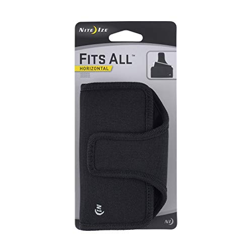 Nite Ize Fits All Phone Holster - Vertical or Horizontal  Protective, Clippable Cell Phone Holder For Your Belt Or Waistband - Horizontal - Black