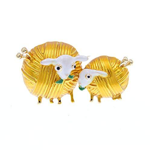 GLKHM Broches Y Alfileres para Niña Broches De Oveja Mujeres Animal Pin Moda Abrigo Accesorios-3_4.5 * 2.5Cm