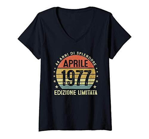 Donna 44 Anni Compleanno Uomo Donna Regalo Vintage Aprile 1977 Maglietta con Collo a V