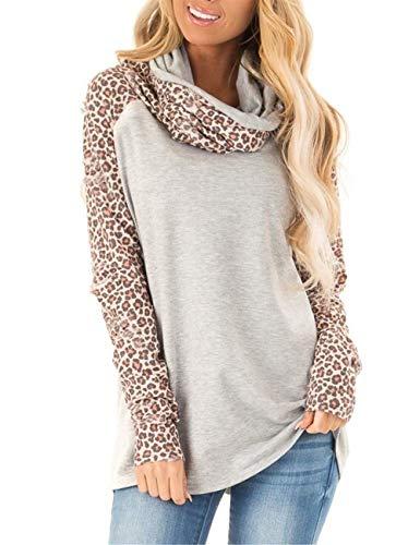 Blivener Women's Casual Sweatshirts Long Sleeve Leopard Print Tops Cowl Neck Raglan Shirts Gray S