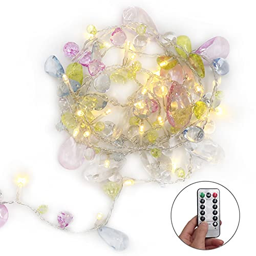 Indoor Home Garland String Lights with Remote, Bohemia Style String with Jewels-colorful LED Jewelry Christmas Fairy Lights Battery Operated-8 Mode Dimmable-Timer, 30LED Warm White Lamp Gift for Girl