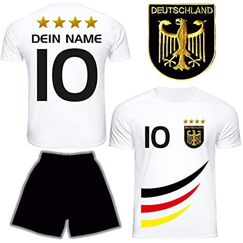 DE FANSHOP Deutschland Trikot mit Hose & GRATIS Wunschname + Nummer #D4 2021/2022 EM/WM Weiss - Geschenk für Kinder Jungen Baby Fußball T-Shirt personalisiert