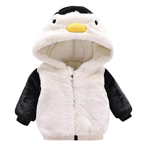 FeiliandaJJ Baby Mantel,Infant Toddler Mädchen Junge Herbst Winter Vlies Kapuzenjacke Outwear Kinder Cute Pinguin Coat Reißverschluss Fleece Jacken Dicke Warme Kleidung (80 (6~12Monate), Weiß)