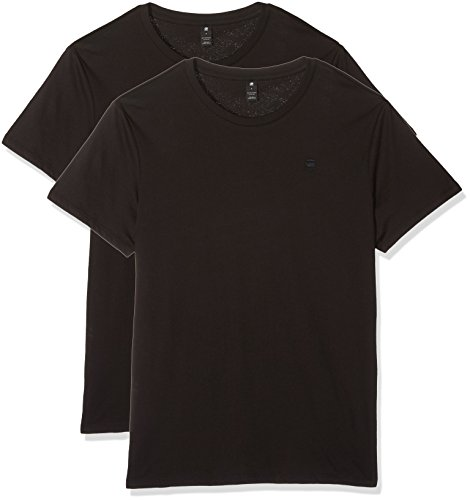 G-STAR RAW Herren Base Htr R T S/S 2-Pack T-Shirt, Schwarz (Solid Black 2019), X-Large
