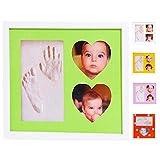 Cornice Impronte Neonato Mani E Piedi Porta Foto Formato XXL Da Parete Idee Regalo Set 5 Maschere Colorate Vetro E Brillantini Mamma Nascita Battesimo Lista Bebè