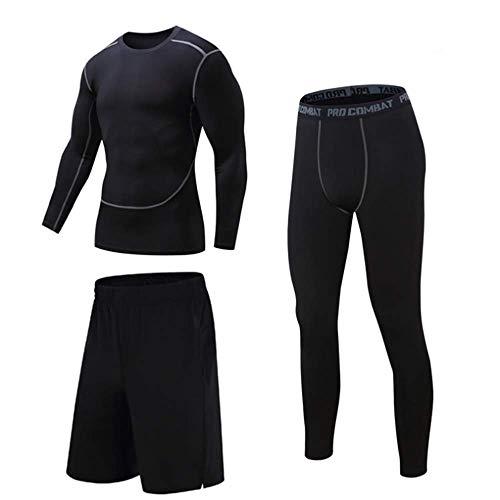 IDE Play Set de Compression pour Hommes, sous-vêtements de Sport Quick Dry T-Shirt, Caleçon Gym pour Course à Pied Cyclisme, Couches de Base Collants avec des Shorts Amples,Noir,XL