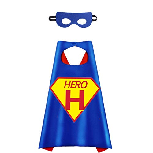 Flowerbb Cartoon Hero Theme Party Costume Cape and Mask Hero Logo and 26 Letters Choice (H) Red