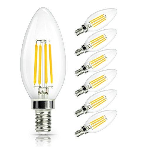 SHINE HAI Lampadina Filamento LED E14 4W equivalente a 40 W, Lampada LED Candela Bianco Caldo 2700k,470lm,360¡ã Angolazione Fascio Luce