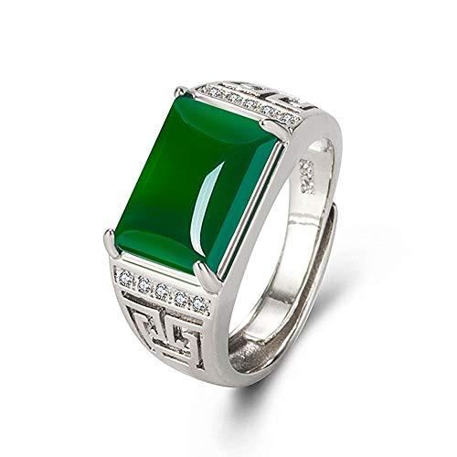 Anillos De Diamantes De Piedras Preciosas De Esmeralda De Jade Verde Tallado Vintage Para Hombres Joyería De Bague Accesorios De Color Dorado Y Plateado Regalos