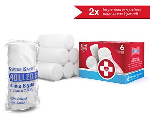 Elastic Stretch Gauze Rolls (6-Pack) - [ 2X Longer ] - Size: 4 inch x 8 Yards 5 Gauze Rolls