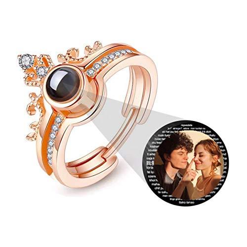 Versión de anillo de foto personalizada Anillo de confesión de anillo de proyección personalizado(Oro rosa A todo color Ajustable)