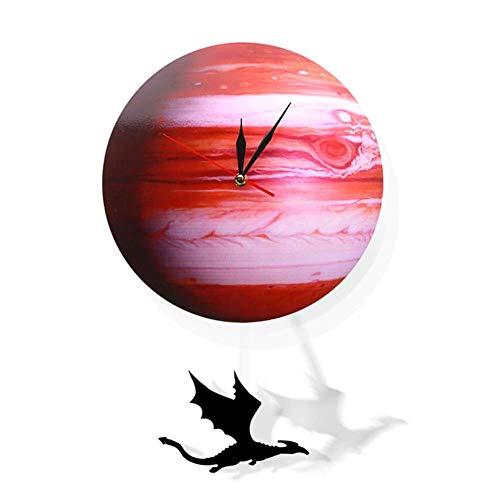 HHKLSF Swinging on The Jupiter Planet Wanduhr Sonnensystem Dekoration Wanduhr Space Pendel Swinging Wanduhr, violett