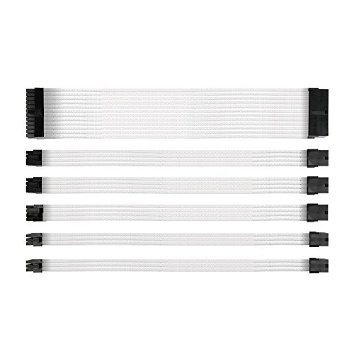 Photo of Antec Power Supply Sleeved Cable /24pin ATX /4+4pin EPS /8-pin PCI-E /6pin PCI-E PSU Extension Cable Kit 30cm Length with Combs, White (11.8inch/30cm)