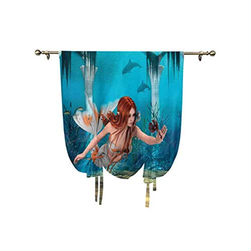 Mermaid Tie Up Curtain Panels,Lifelike Mermaid Holding a Sea Lily Magic Aquatic World Theme Adjustable Balloon Curtain Shade,39x63 Inch,for Kitchen Kids Bedroom Blue Burnt Sienna Yellow