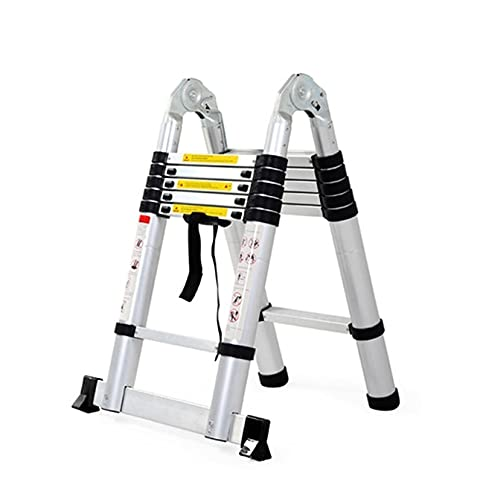 BCGT 8 Steps Telescopic Ladder Aluminum Alloy Multifunctional 10.4+10.4ft Home Folding Ladder Herringbone Ladder for Indoor/Outdoor/Office/Warehouse/Courtyard (Size : 3.2+3.2m/10.4+10.4ft)