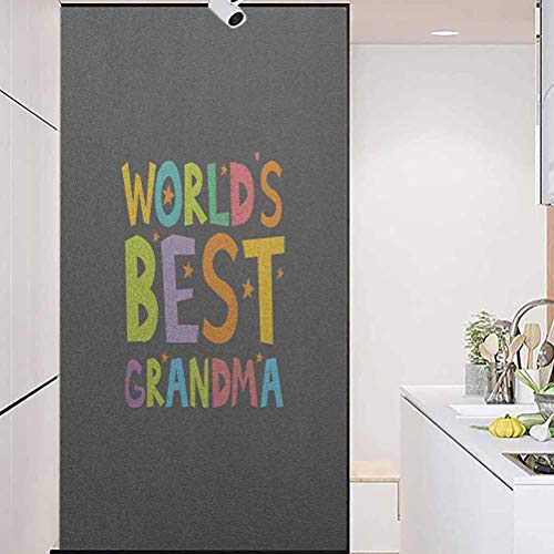 """Privacy Home Decor Decorative Stained Glass Window Film, Grandma Best Grandmother Quote with Colorful Letters D, Home Window Tint Film Heat Control, 23.6"""" Wx47.2"""" Linches"""