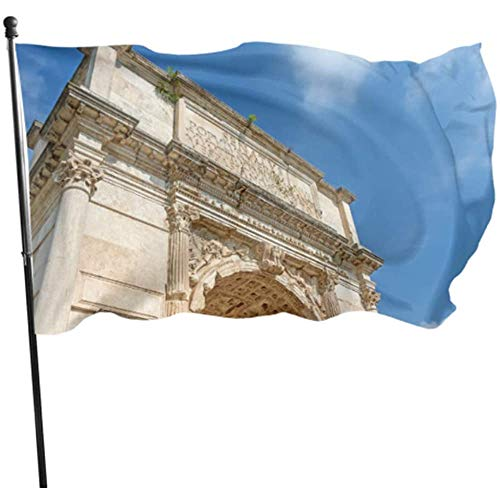 Kenice Gartenflaggen,Garten Banner,Feiertage Flags,Haus Hof Flagge,Hauptflagge,3'X5',Antike Große Römische Architektur-Dekor-Flagge Gedruckte Polyester-Flagge