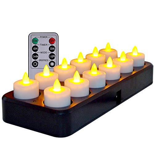 Wireless Inductive Rechargeable LED Tealight Candles Flameless with Timer Remote, Set of 12 Amber Yellow Light