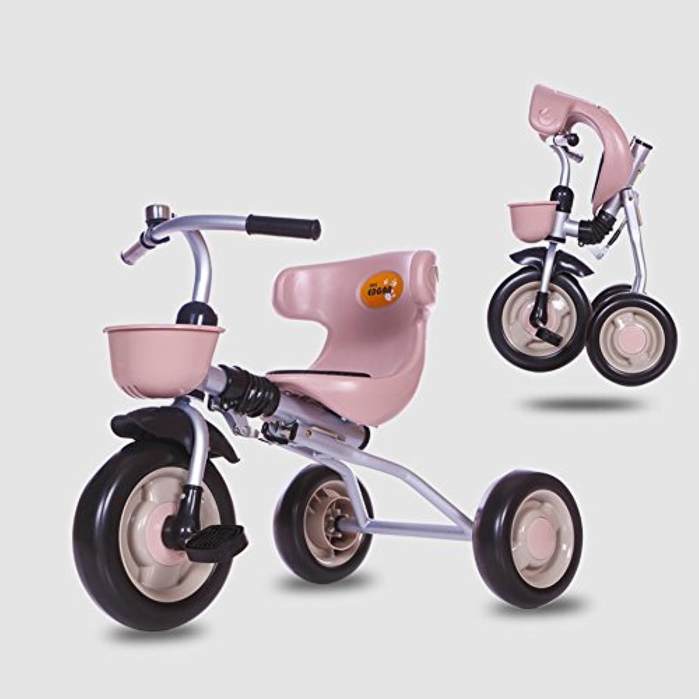 XQ Stofestes zusammenklappbares festes Rad EVA-Rad-Kind 1-3 Jahre altes Dreirad-Kinderwagen - Kaffee-Farbe