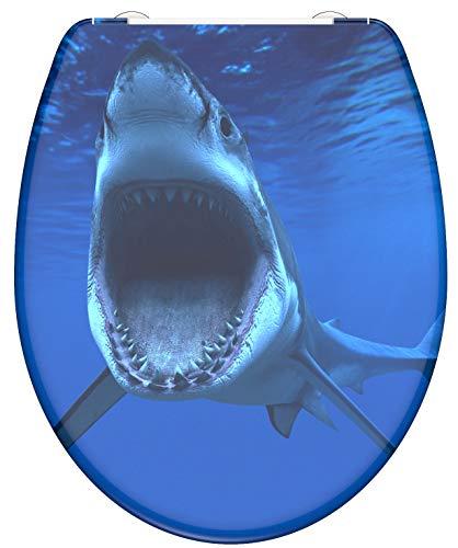 WC-Sitz - Toilettendeckel | Klodeckel mit Absenkautomatik & Schnellverschluss | Duroplast | Toilettensitz mit Muster (Weißer Hai)