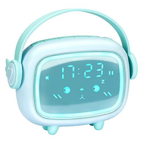 Despertador digital, LED digital, reloj de mesa, USB recargable, con temperatura de fecha, 6 tonos de alarma opcionales, volumen de alarma ajustable, 3 intensidades, fácil de usar