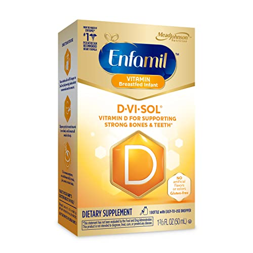 Enfamil Baby Vitamin D-Vi-Sol Vitamin D Liquid Supplement Drops for Infants, Supporting Strong Teeth & bones in Newborn Babies, Easy-to-Use, Gluten-Free, 50 mL Dropper Bottle