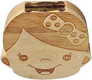Creative Baby Teeth Box Saver Storage Box Wooden Children Teeth Holder Organize Box Milk Teeth Keepsake for Girls Boys - Wood