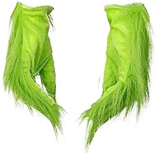 Furry Green Gloves with Mask Cosplay Costume for Christmas Halloween Party Props Green