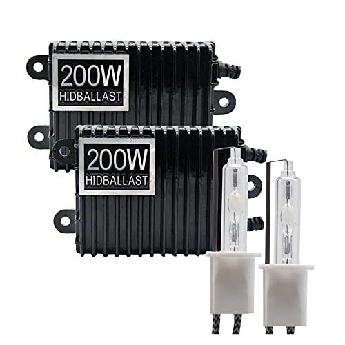 L1YAFYA 2pcs 200W Kit de lastre HID Xenon Bombilla 12V H1 H3 H7 H11 9005 9006 4300K 5000K 6000K 8000K (Emitting Color : 6000K Cold White, Socket Type : H9)