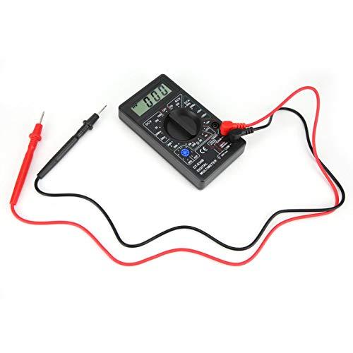 Pantalla grande Probador de ohmios Multímetro LCD Multímetro digital Amperímetro digital Multímetro digital para electrodomésticos con cubierta protectora de goma suave(DT-830B black)