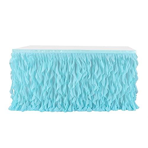 KUYUC Falda de Mesa Tul, Faldones de Mesa, Tabla de tutú para Mesas Rectangulares o Redondas, Manteles Decoración para Bodas Cumpleaños Candelabros Navidad (Color : Blue, Size : 275cm(9ft))