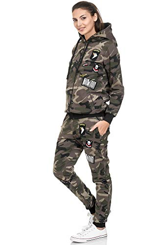 Violento Damen Jogging-Anzug | USA-Patches 685 (L, Khaki/Camouflage)