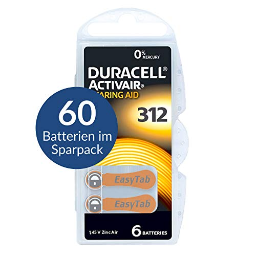 Duracell Activair Size 312 (Brown tab) Hearing Aid Batteries - Value Trade Pack of 60
