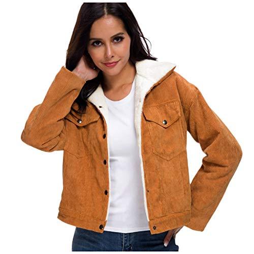 URSING Mantel Damen Winter Retro Vintage Jacke Fleece gefüttert Cordjacke Übergangs Jacke Freizeit Warm Jacken Oberteile Casual Langarm Outwear