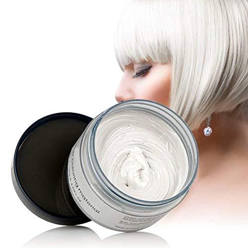 Temporäre Haarwachs Farbe, OCHILIMA Haarwachs Frisur Farbstoff Schlamm, natürliche Inhaltsstoffe Waschbare Haarstylingcreme für Männer Frauen Farbwachs 120g /4,23 Unzen (Weiß)