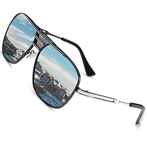 SHEEN KELLY Grand Rétro Pilote Lunettes de soleil polarisées classiques Lunettes Métal pour voyager Conduite Equitation Sporting Pêche Golf