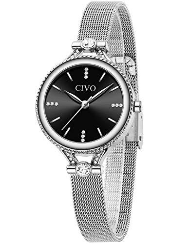 CIVO Damen Uhr Schlanke Ultra Minimalistische Damen Uhren wasserdichte Edelstahlgitter Silber Damen Armbanduhr Elegantes Einfaches Klassisches Damenuhr Schwarz Analoge Uhren für Damen